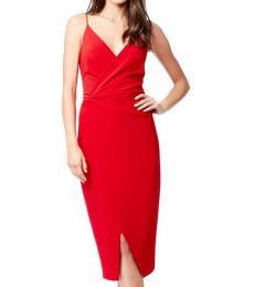 Betsey Johnson Red Faux Wrap Midi Dress