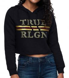 True Religion Black Luxe Logo Crop Hoodie