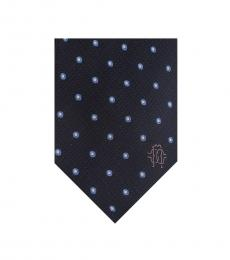 Black Blue Geometric Polka Dot Tie