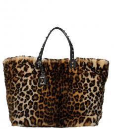 Dolce & Gabbana Leopard Print Fur Large Tote