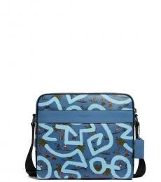 Coach Blue Keith Haring Charles Large Messenger Bag