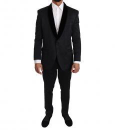 Dolce & Gabbana Black Brocade Floral Suit