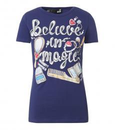 Love Moschino Blue Printed Crew Neck T-Shirt