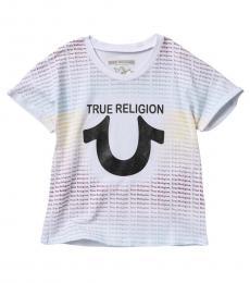 True Religion Little Girls White Repeat Text T-Shirt
