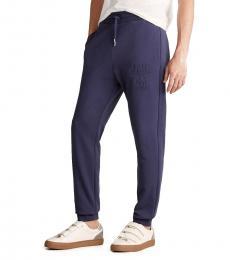 Love Moschino Blue Embossed Logo Sweatpants
