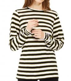 White Striped Long-Sleeve Top