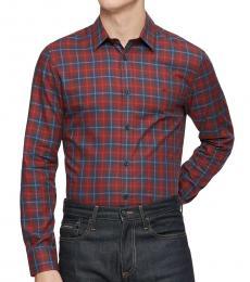 Calvin Klein Dark Red Classic-Fit Plaid Shirt