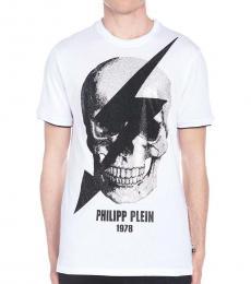 Philipp Plein White Skull Fulmine T-Shirt