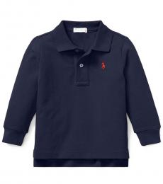Ralph Lauren Baby Boys Newport Navy Pique Long-Sleeve Polo