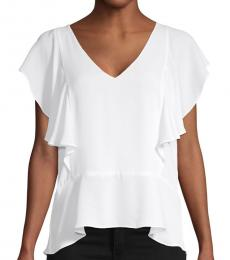 BCBGMaxazria Optic White Ruffle Top