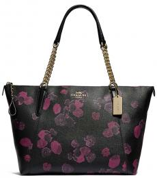 Black Ava Chain Floral Large Tote