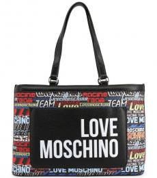 Love Moschino Black Graphic Large Tote
