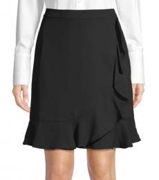 Karl Lagerfeld Black Faux-Wrap Skirt