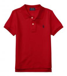 Little Boys New Red Mesh Polo