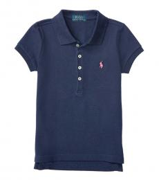 Little Girls French Navy Polo