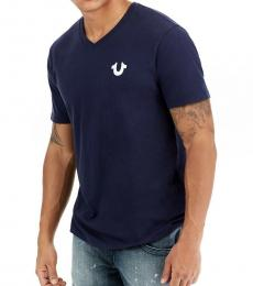 True Religion Navy Blue Horseshoe Logo V-Neck Tee