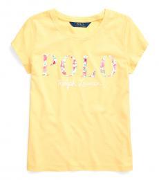 Ralph Lauren Girls Empire Yellow Logo Jersey T-Shirt