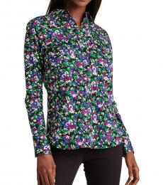 Polo Black Multi Floral-Print Cotton Shirt