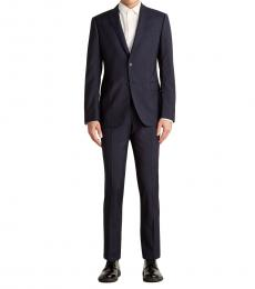 Dark Blue Stripe Notch Wool Suit