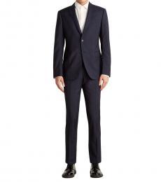 Emporio Armani Dark Blue Stripe Notch Wool Suit