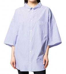 Blue Popeline Oversized Shirt