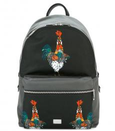 Black Grey Graphic Large Backpack