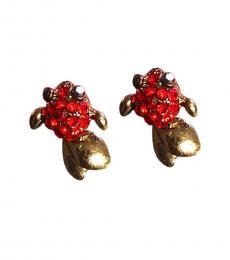 Betsey Johnson Red Koi Fish Stud Earrings