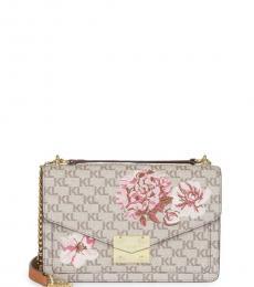 Karl Lagerfeld Light Rose Floral & Logo Small Shoulder Bag