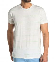 Ben Sherman White Palm Striped Styled T-Shirt