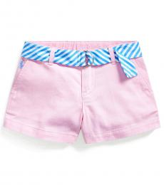 Ralph Lauren Little Girls Carmel Pink Belted Chino Shorts