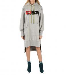 Diesel Grey Logo Hoodie Dress