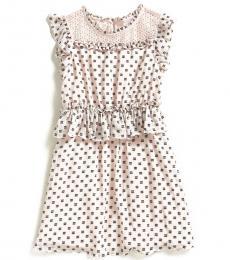 Girls Pink Eyelash Dobby Dress