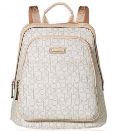 Calvin Klein Almond Desert Taupe Monogram Large Backpack