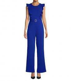 Betsey Johnson Ultramarine-Ruffled Belted Jumpsuit