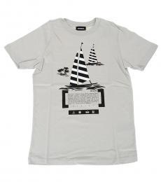 Diesel Boys Grey Printed T-Shirt