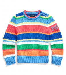 Ralph Lauren Little Girls Multicolor Striped Polo Sweater