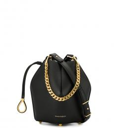 Alexander McQueen Black Chain Small Bucket Bag