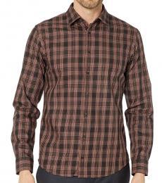 Hugo Boss Dark Brown Mypop Plaid Shirt