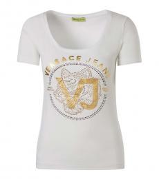 Versace Jeans White Scoop Neck Logo Top