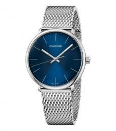 Calvin Klein Silver-Blue High Noon Watch