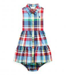 Ralph Lauren Baby Girls Blue Red Plaid Dress