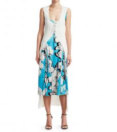 Roberto Cavalli Blue White Orchid Print Dress With Knit Cardigan