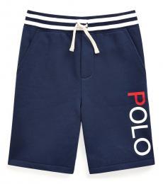 Ralph Lauren Boys Newport Navy Cotton-Blend-Fleece Shorts