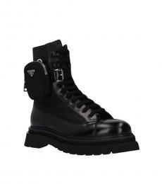 Prada Black Pocket Combat Boots
