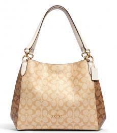 Coach Light Khaki Hallie Medium Hobo