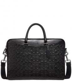 Coach Black Beckett Slim Signature Large Briefcase Bag