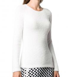 Emporio Armani White Textured Long Sleeve Top