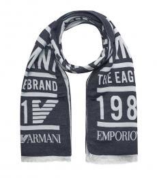 Emporio Armani Dark Blue Logo Scarf