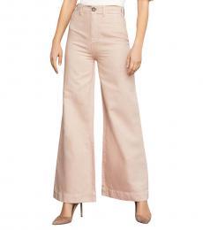 BCBGMaxazria Bare Pink Wide Leg High Rise Pants