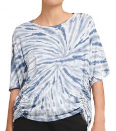 DKNY Black Sport Tie-Dyed Ruched Top